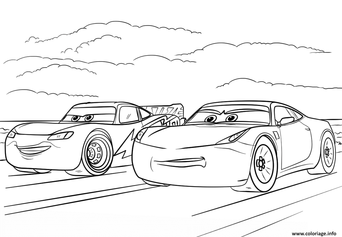 Coloriage Cars 3 Miss Fritter.Coloriage Mcqueen And Ramirez From Cars 3 Disney Dessin