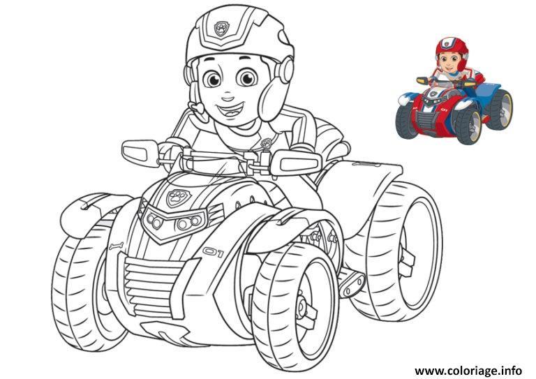 Coloriage ryder de pat patrouille sur une moto 4x4 dessin - Pat patrouille coloriage ...
