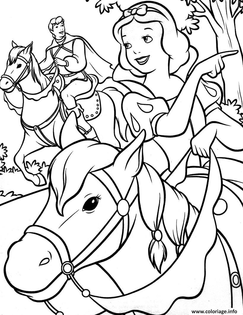 Coloriage Princesse Blanche Neige Avec Son Prince Amoureux Dessin  Imprimer
