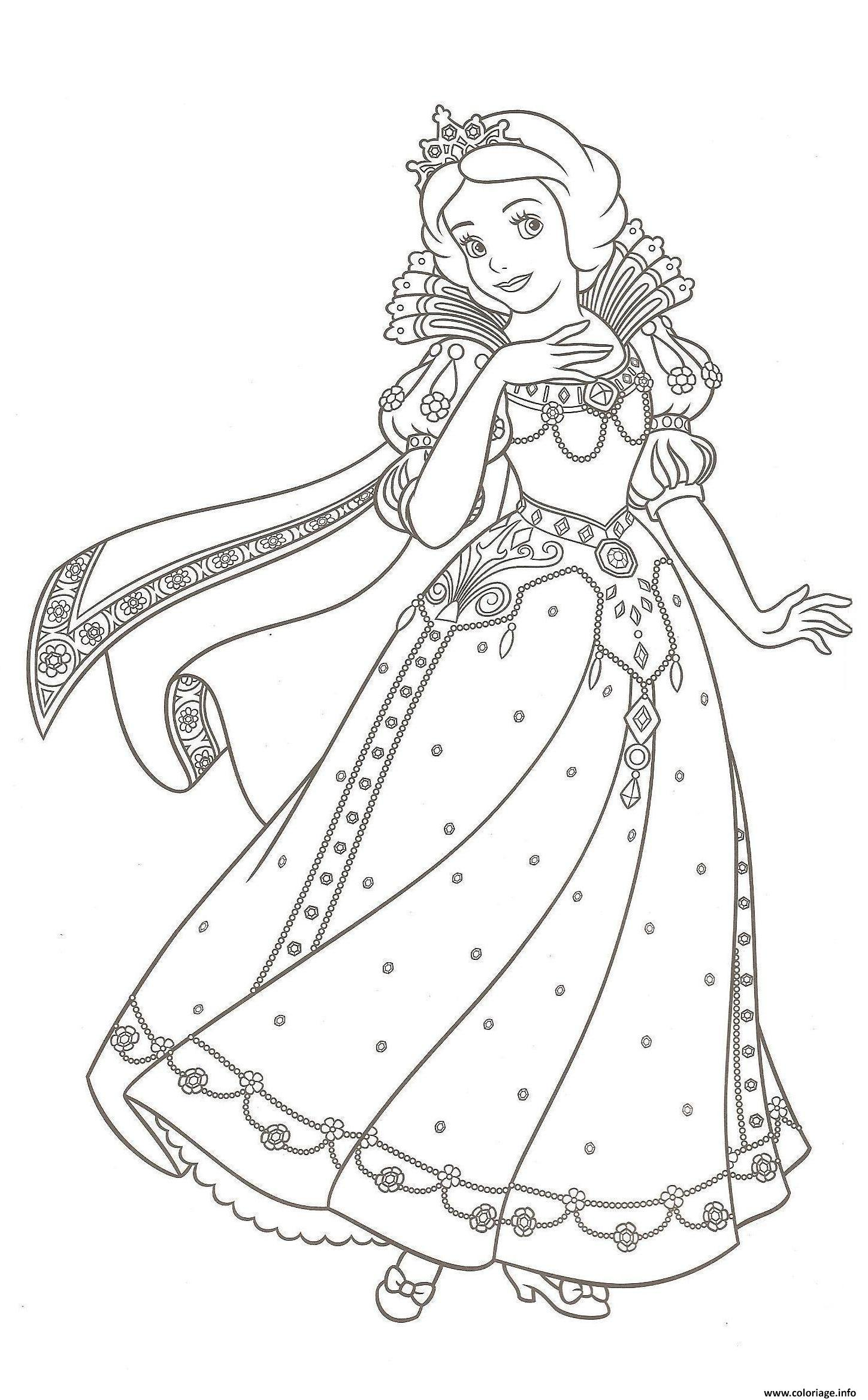Coloriage robe de princesse blanche neige dessin - Grand dessin a colorier ...