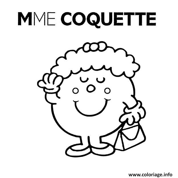 Coloriage Monsieur Madame Mme Coquette Jecolorie Com