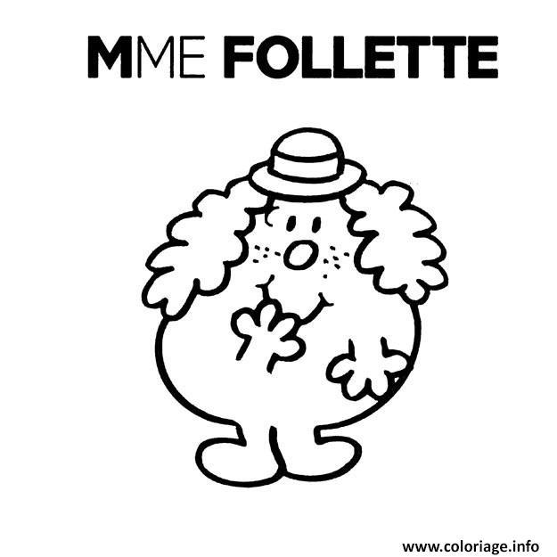 Coloriage Monsieur Madame Mme Follette Dessin à Imprimer