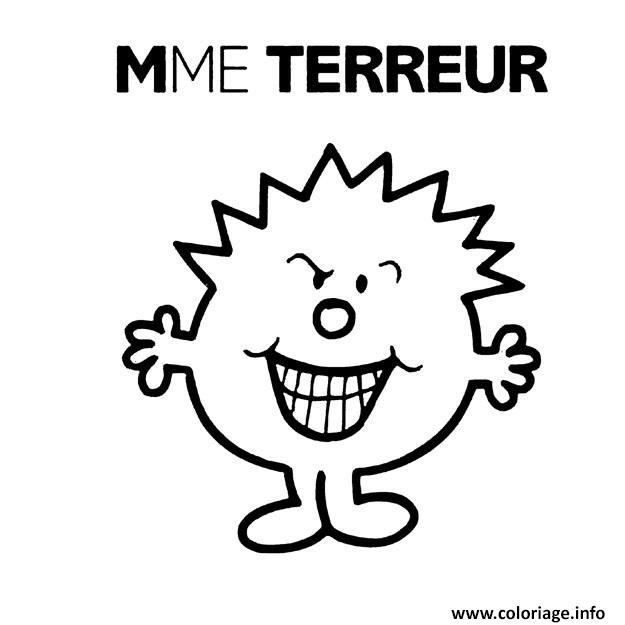 Charming Coloriage Monsieur Madame Terreur Dessin à Imprimer