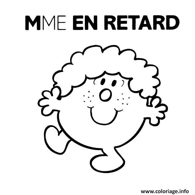 Coloriage Monsieur Madame Mme En Retard Dessin