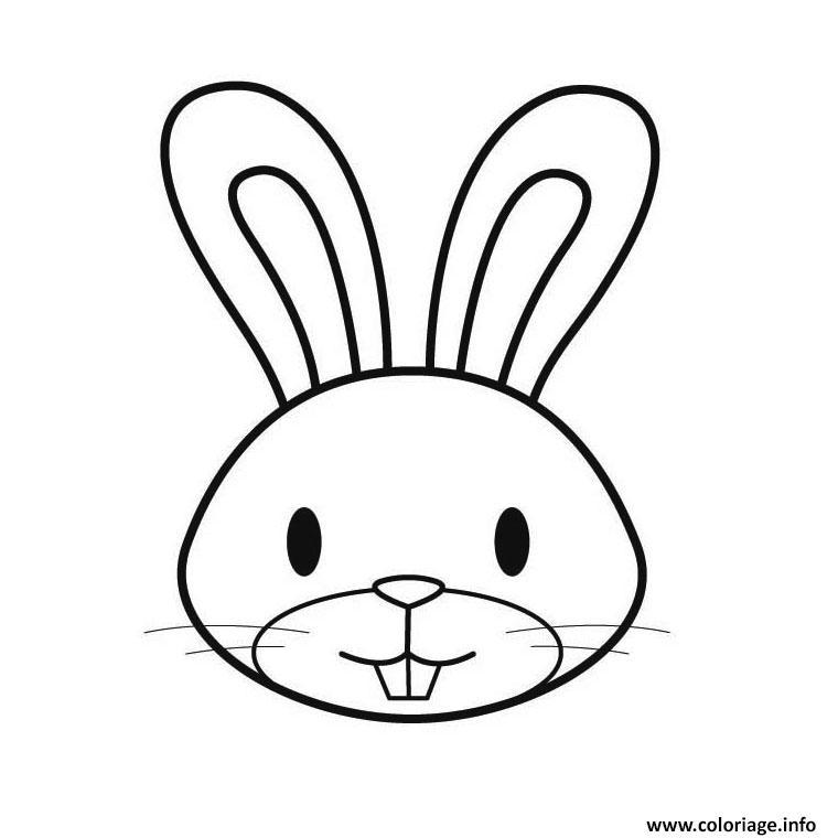 coloriage animaux mignon tete de lapin dessin imprimer - Dessin D Animaux