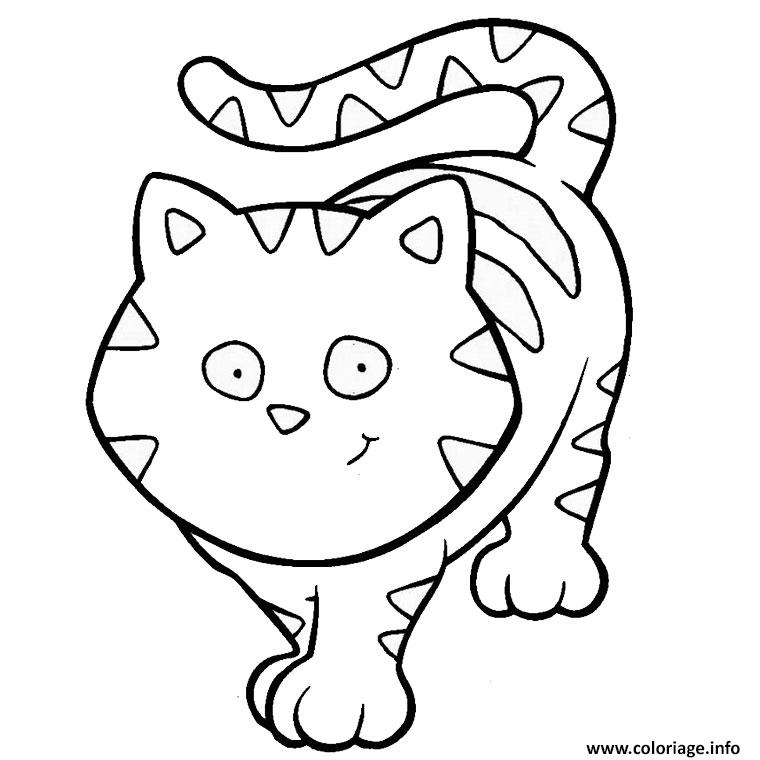 Coloriage animaux mignon chat dessin - Dessin a colorier un chat ...