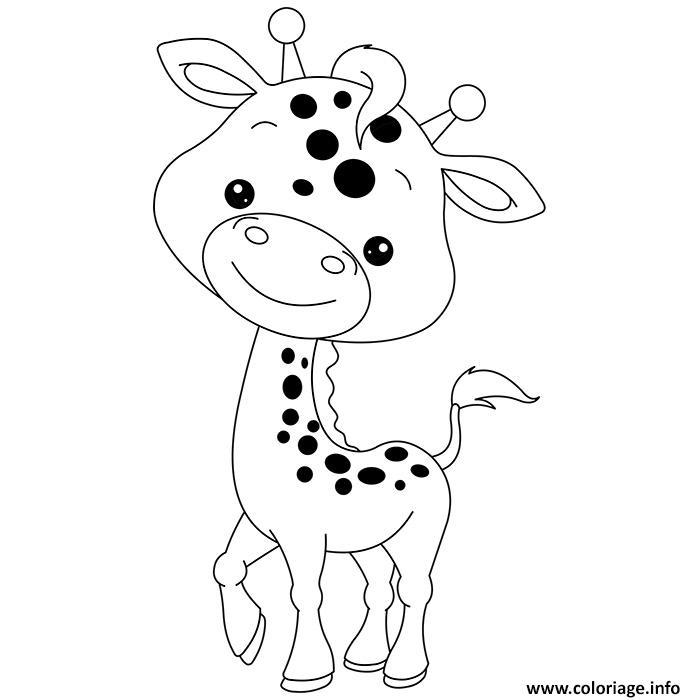 Dessin animaux mignon de bebe girafe Coloriage Gratuit à Imprimer