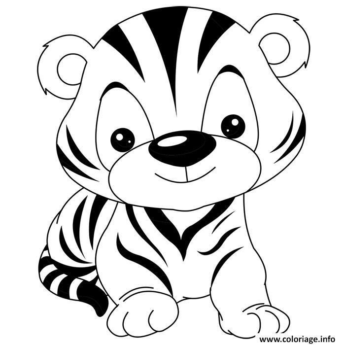 coloriage animaux mignon de bebe tigre rigolo dessin. Black Bedroom Furniture Sets. Home Design Ideas