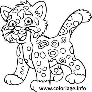 Dessin animaux mignon bebe jaguar Coloriage Gratuit à Imprimer