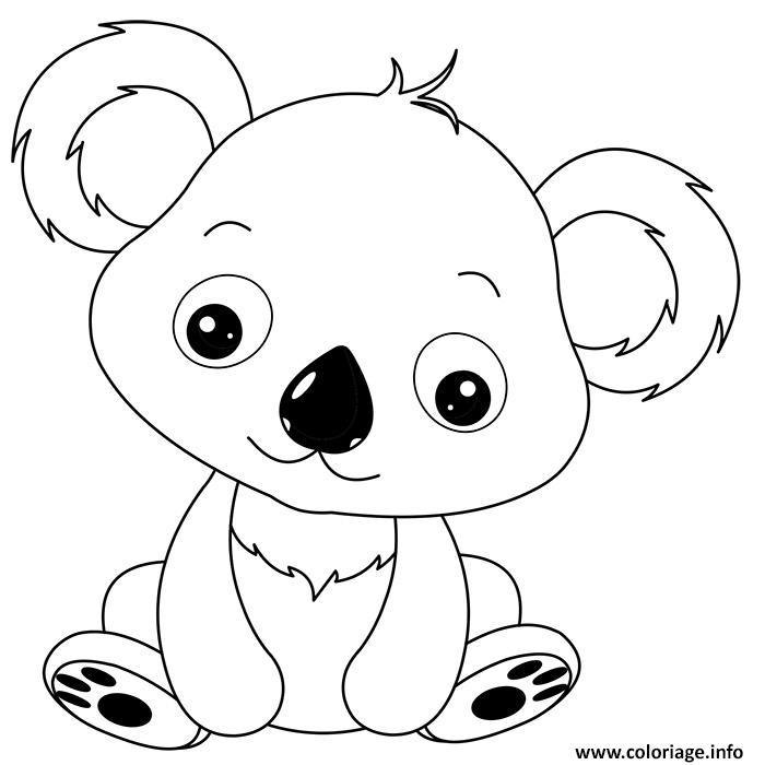 Coloriage animaux mignon de bebe koala dessin - Panda pour coloriage ...