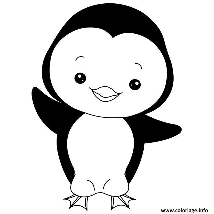 Dessin animaux mignon de bebe pingouin Coloriage Gratuit à Imprimer
