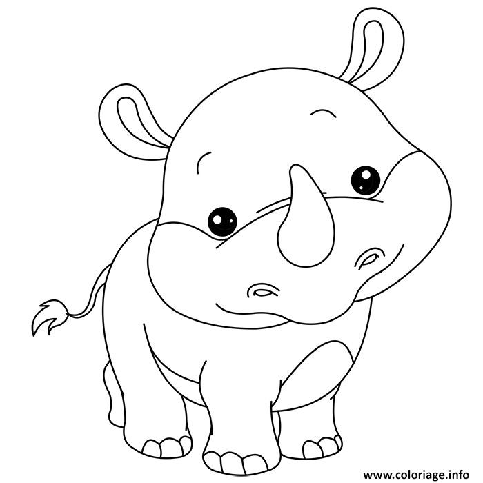 coloriage animaux mignon de bebe rhinoceros dessin. Black Bedroom Furniture Sets. Home Design Ideas