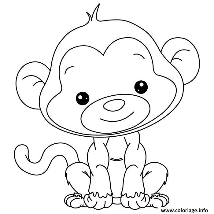 Coloriage animaux mignon de bebe singe tout mignon dessin - Jeux de mignon gratuit ...