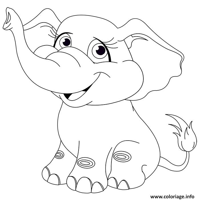 Coloriage Animaux Mignon Elephanteau Bebe Elephant Dessin