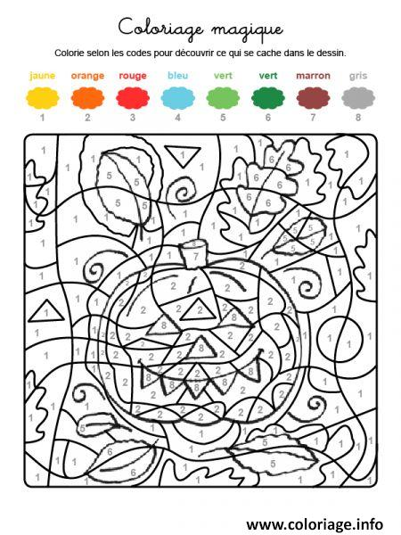 Coloriage magique amusant de halloween - Coloriage code ce1 ...