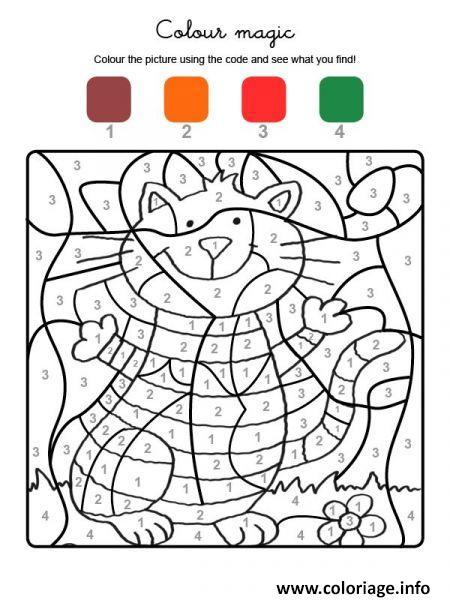 Coloriage Magique Chat Amusant Dessin Magique A Imprimer