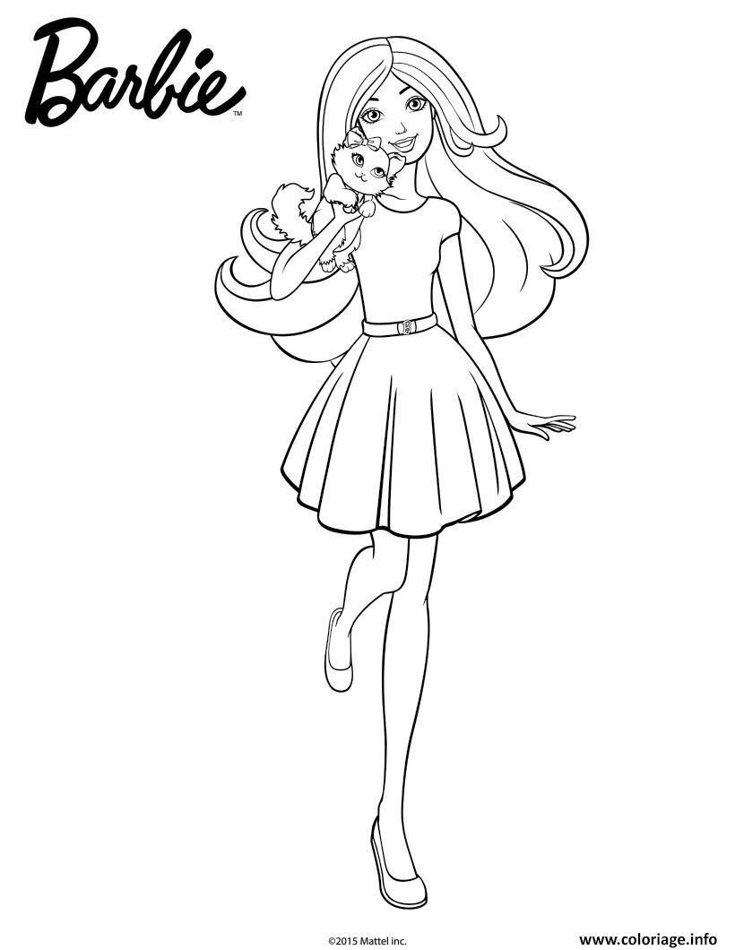 Coloriage Barbie En Promenade Avec Son Chiot Dessin