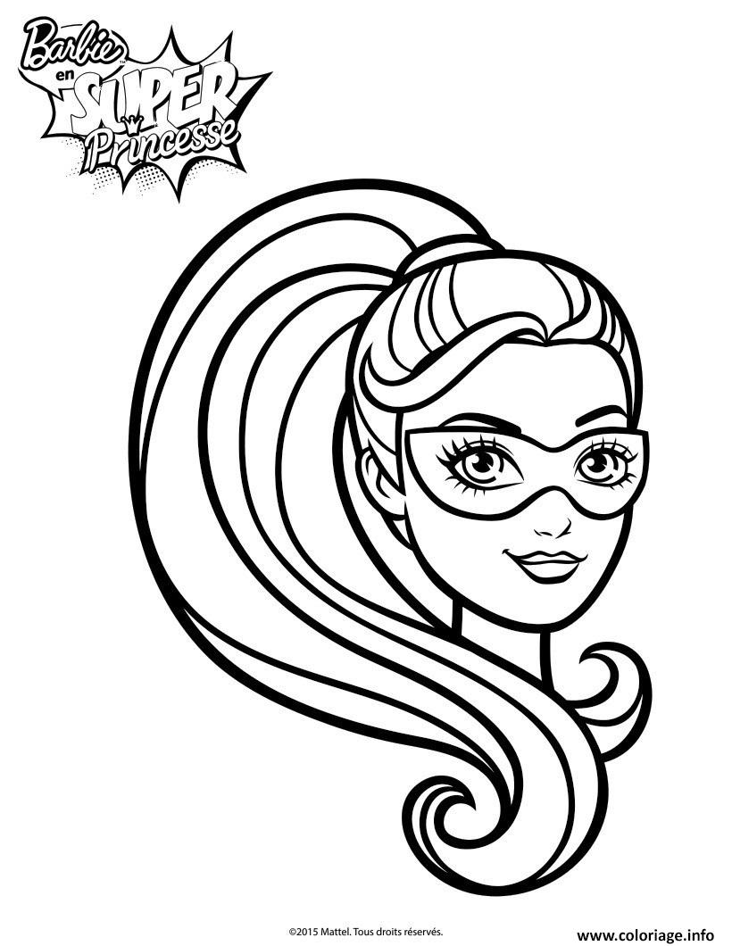 Coloriage barbie portrait de barbie en super princesse dessin - Barbie princesse coloriage ...