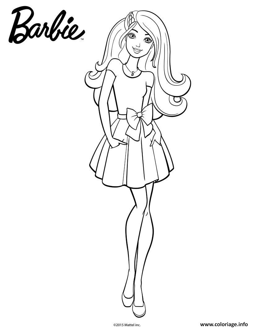 Coloriage barbie en jupe dessin - Barbie a colorier ...
