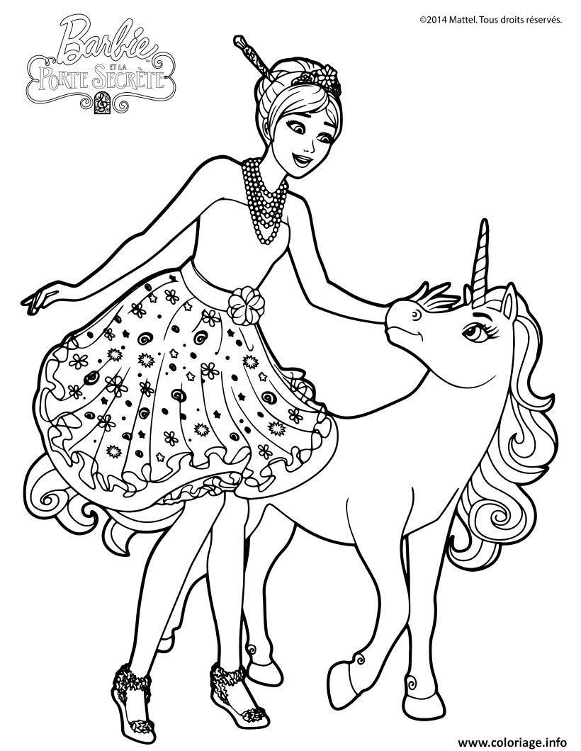 Coloriage barbie et la porte secrete alexa et le bebe licorne - Coloriage a imprimer barbie ...