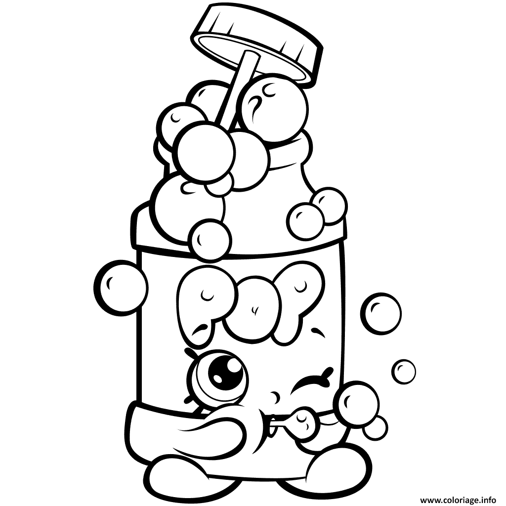 Dessin saison 7 Funny Shopkins Pops Bubble Blower Coloriage Gratuit à Imprimer