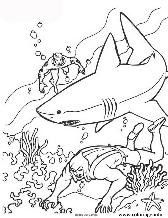 Coloriage aquaman avec un requin dessin - Requin en dessin ...