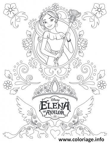 Coloriage Zentangle Mandala Elena Avalor Disney Dessin à Imprimer