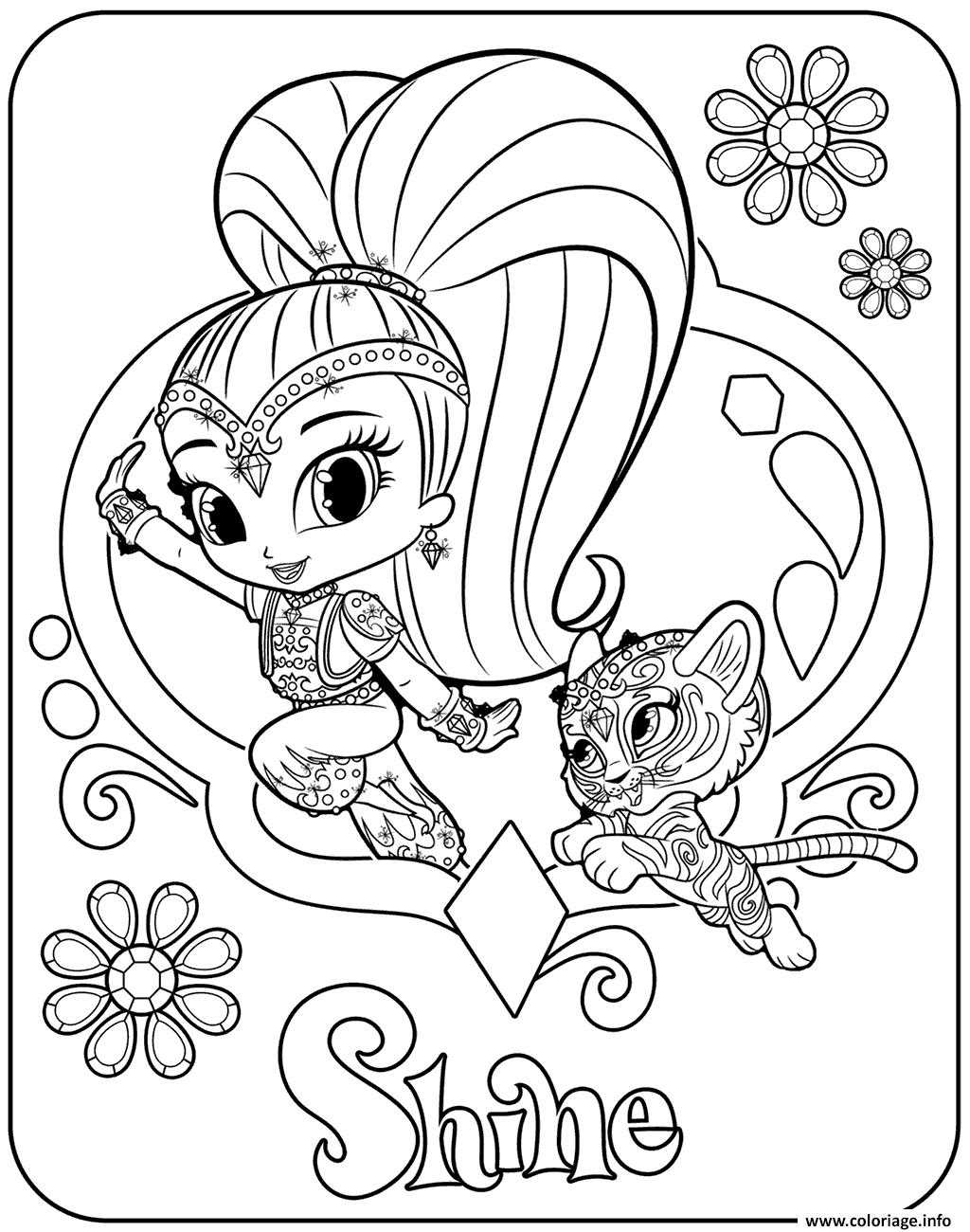 Dessin Sweet Genie Shine and Pet Tiger Coloriage Gratuit à Imprimer