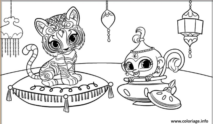Dessin shimmer et shine Tiger and Monkey Coloriage Gratuit à Imprimer