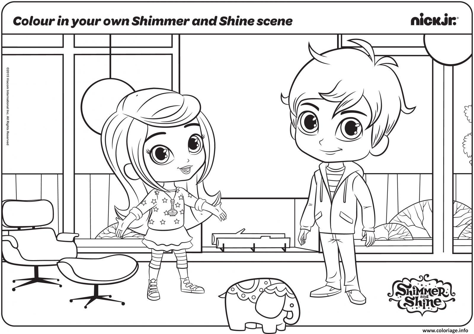 Coloriage Colour In Your Own Shimmer Et Shine Scene Dessin à Imprimer