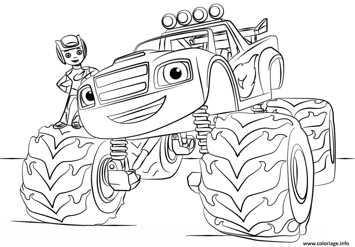 Coloriage blaze monster truck - Dessin monster ...