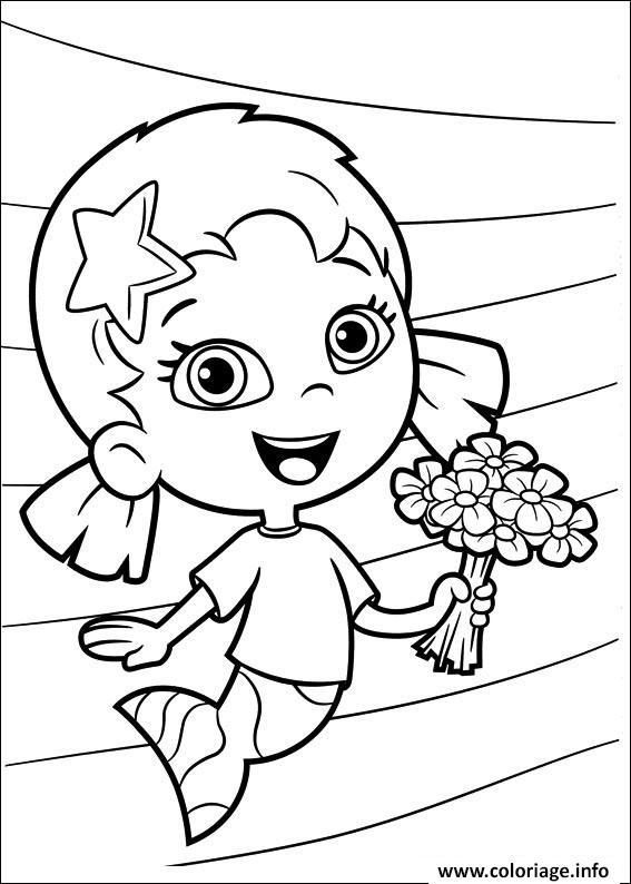 Dessin Bubble Guppies Printable with flowers Coloriage Gratuit à Imprimer