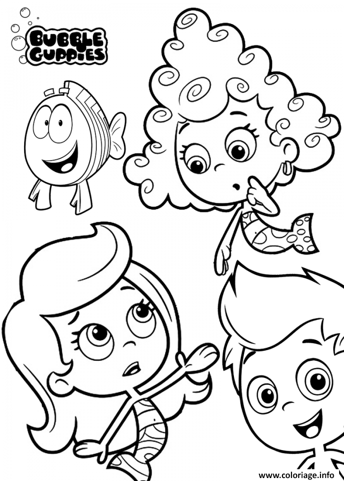 Coloriage Bubble Guppies With All Friends Printable Dessin à Imprimer