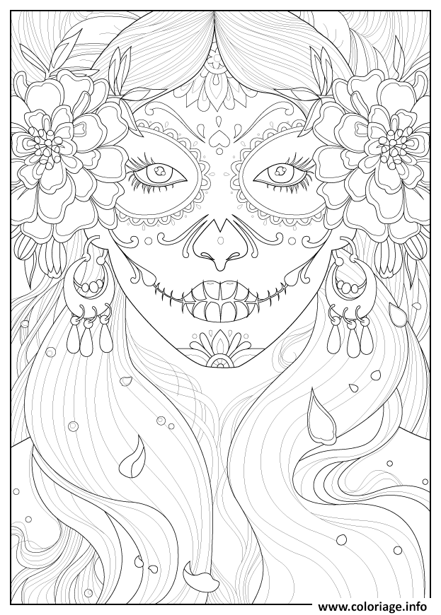 Dessin adulte days of the dead par Juline Coloriage Gratuit à Imprimer