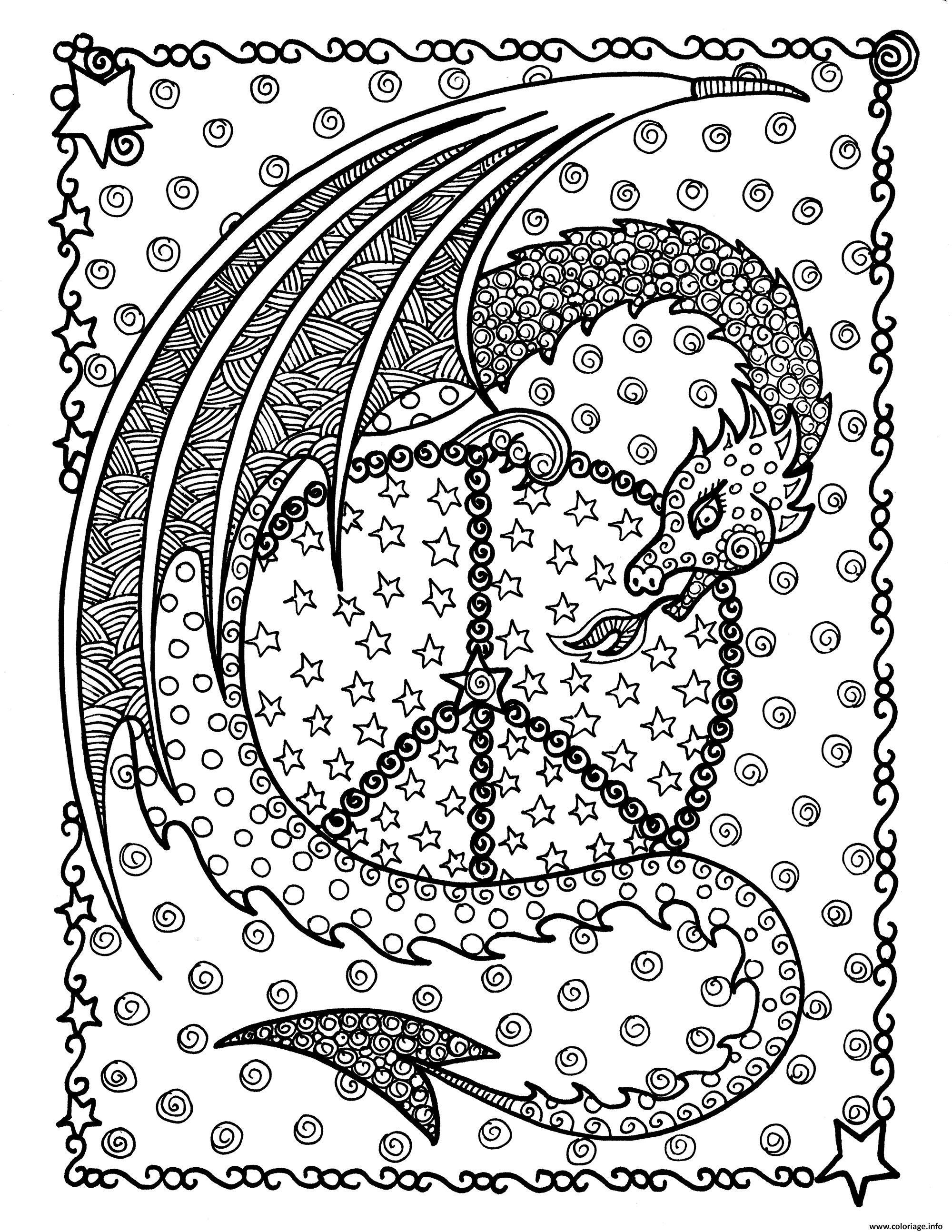 Dessin adulte dragon de la paix par deborah muller Coloriage Gratuit à Imprimer