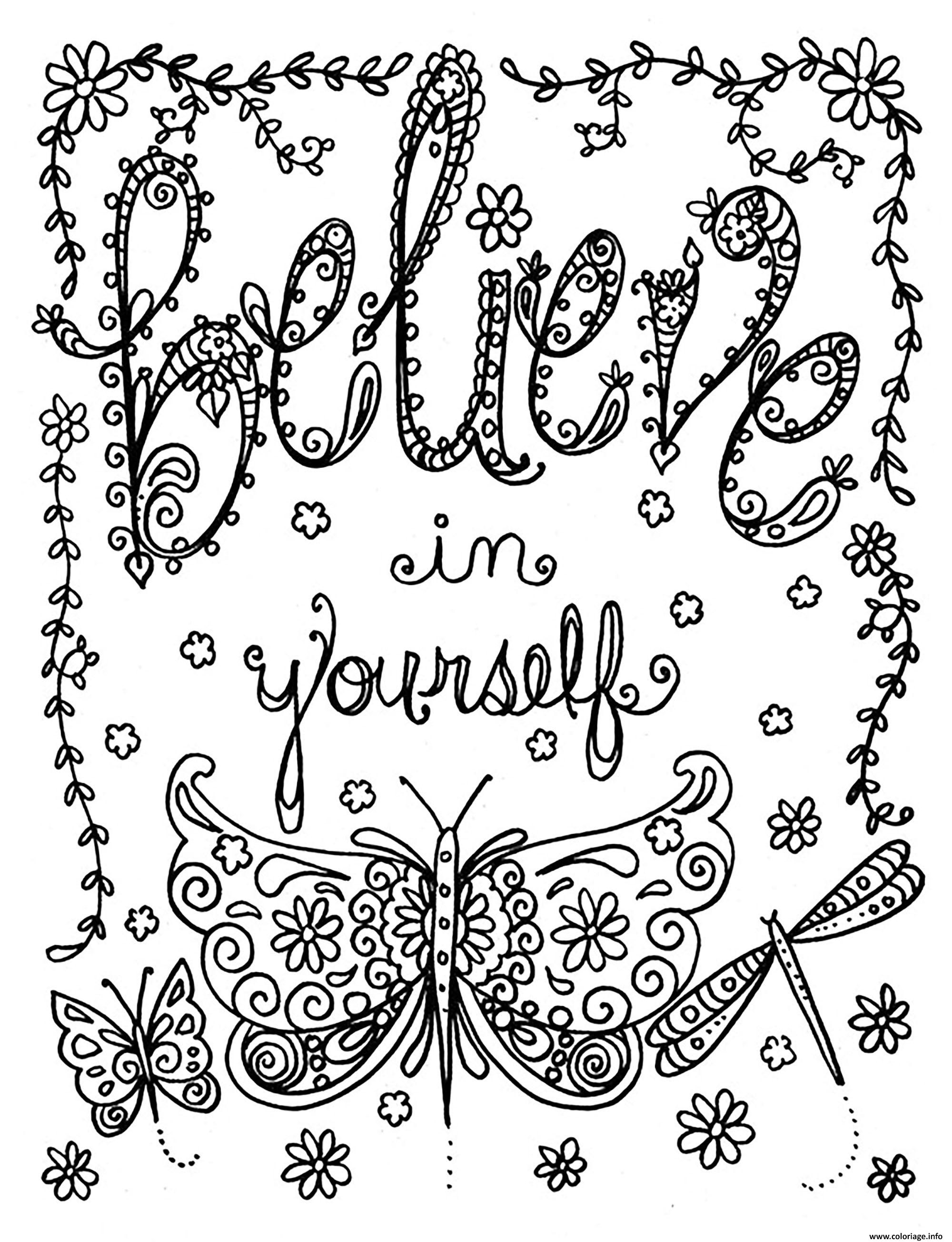 Dessin adulte believe in yourself par deborah muller Coloriage Gratuit à Imprimer
