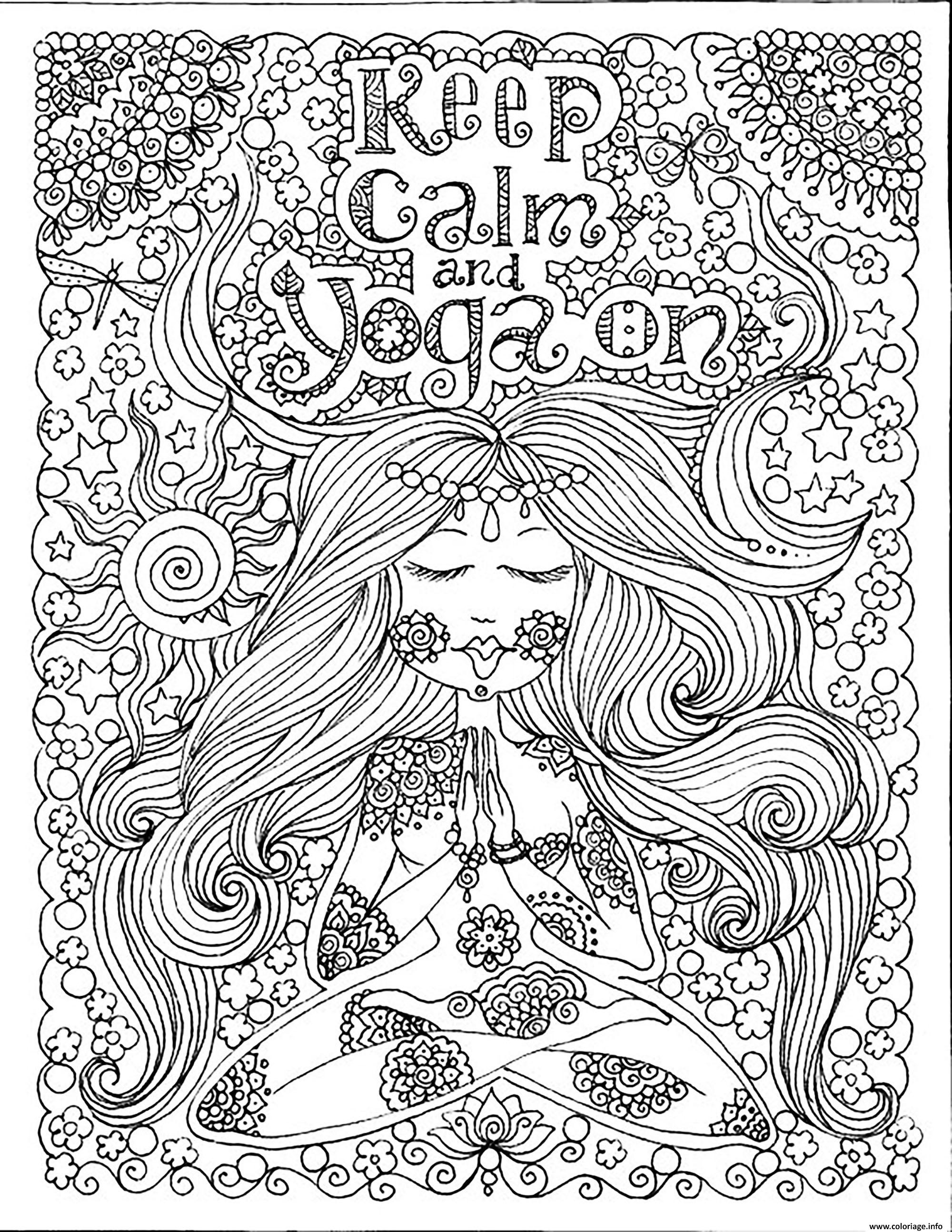 Dessin adulte keep calm and do yoga par deborah muller Coloriage Gratuit à Imprimer