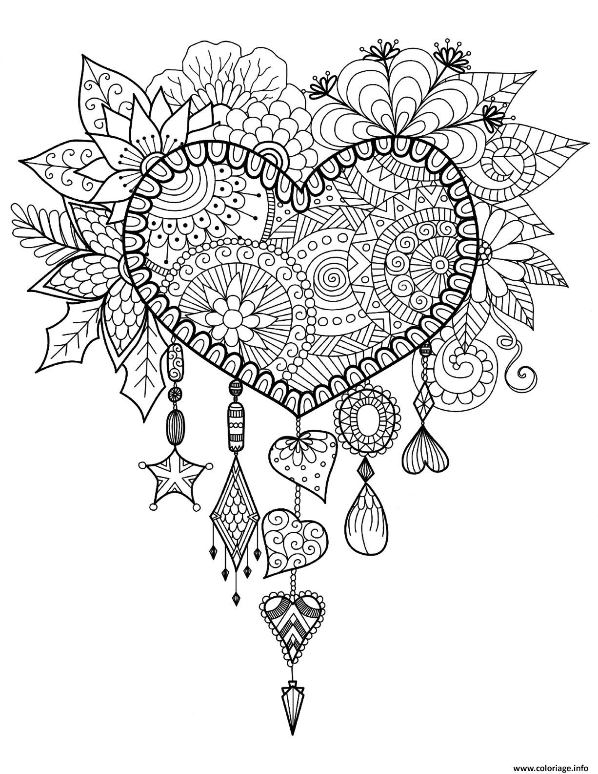 Coloriage Adulte Telecharger.Coloriage Adulte Attrape Reve Coeur Mandala Zen Dessin