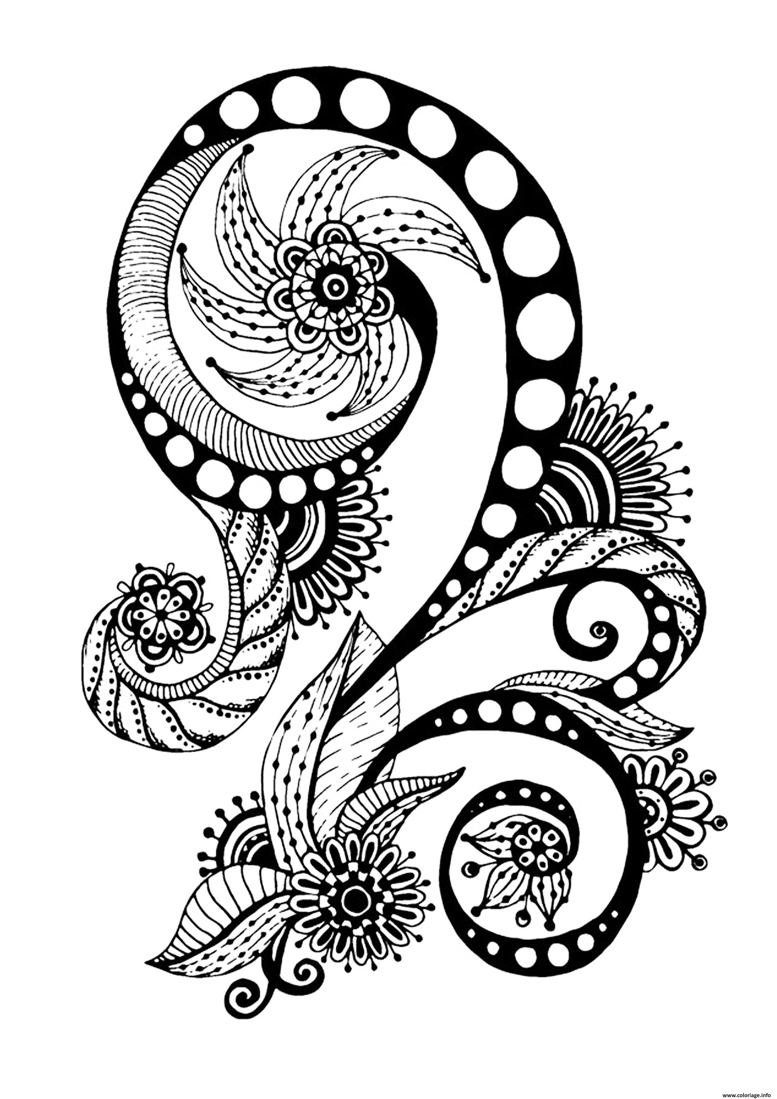 Dessin zen antistress motif abstrait inspiration florale 7 par juliasnegireva Coloriage Gratuit à Imprimer