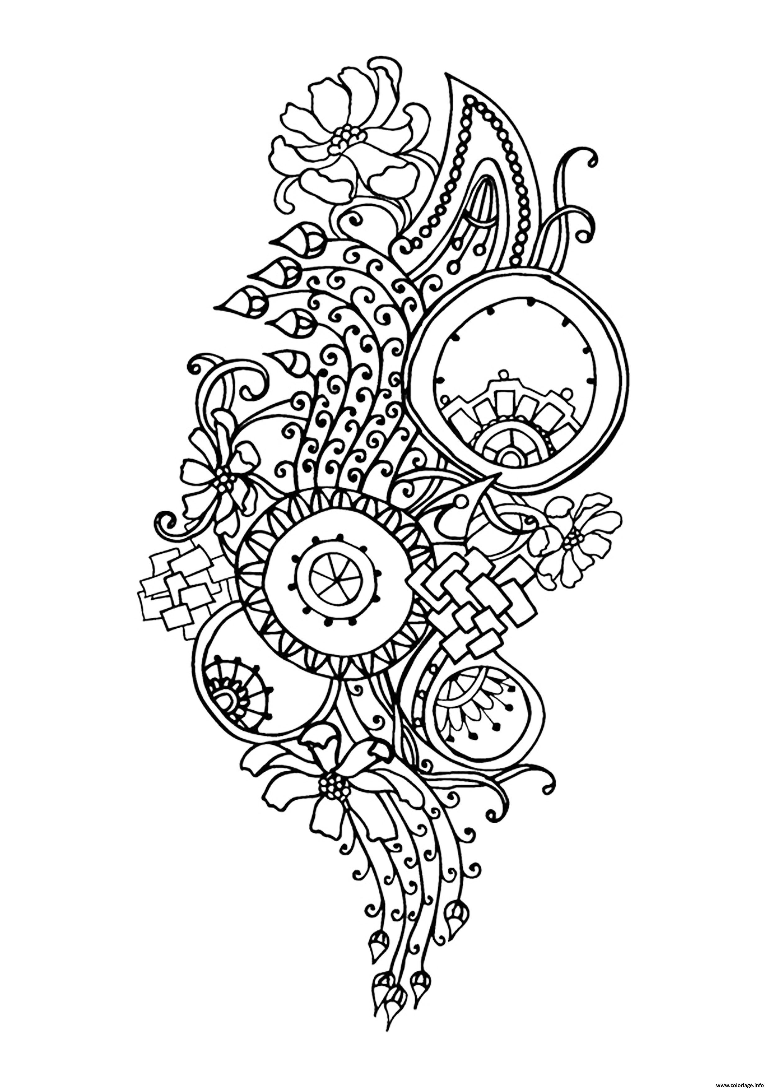 Dessin zen antistress motif abstrait inspiration florale 6 par juliasnegireva Coloriage Gratuit à Imprimer