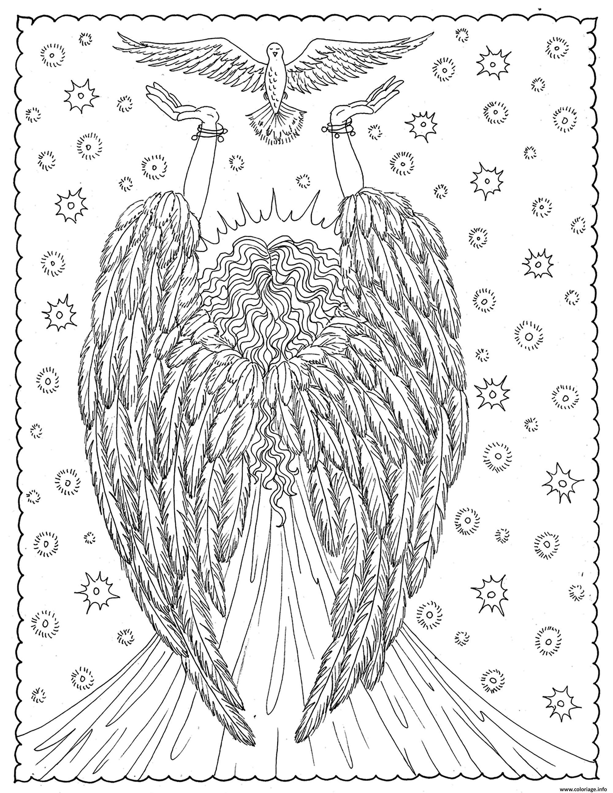 Dessin adulte ange de la liberte par deborah muller Coloriage Gratuit à Imprimer