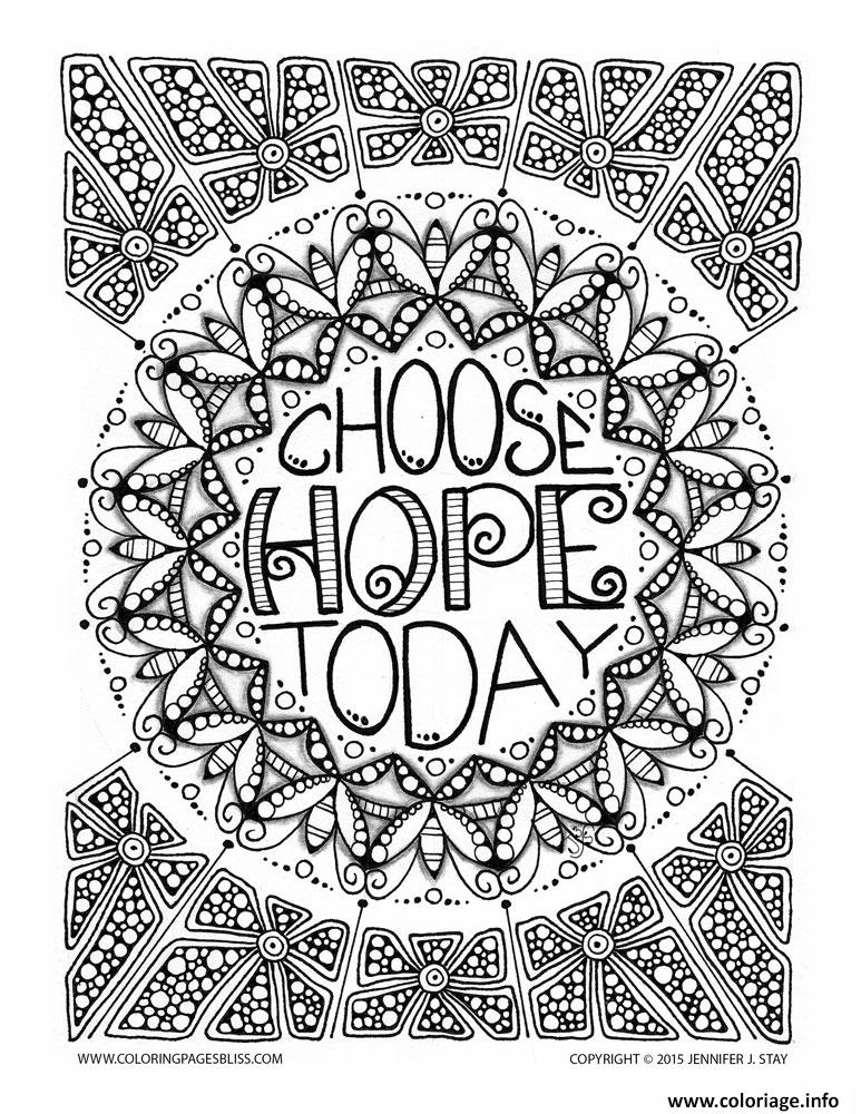 Dessin adulte anti stress jennifer choose hope today Coloriage Gratuit à Imprimer