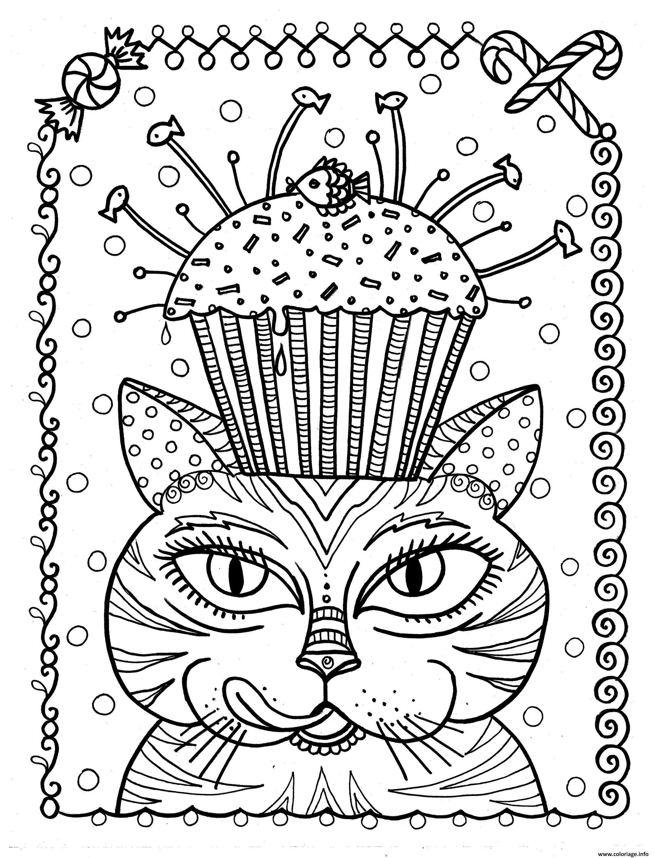 Dessin adulte chat cup cake par deborah muller Coloriage Gratuit à Imprimer