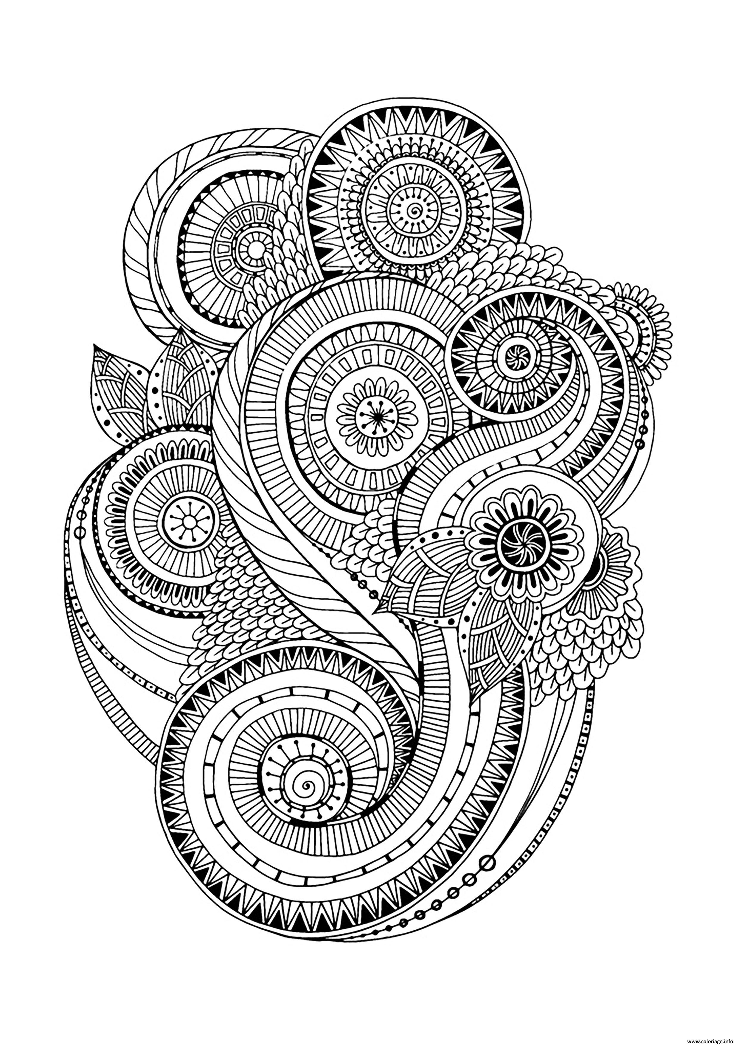 Coloriage Zen Antistress Motif Abstrait Inspiration Florale 2 Par Juliasnegireva Dessin Adulte A Imprimer