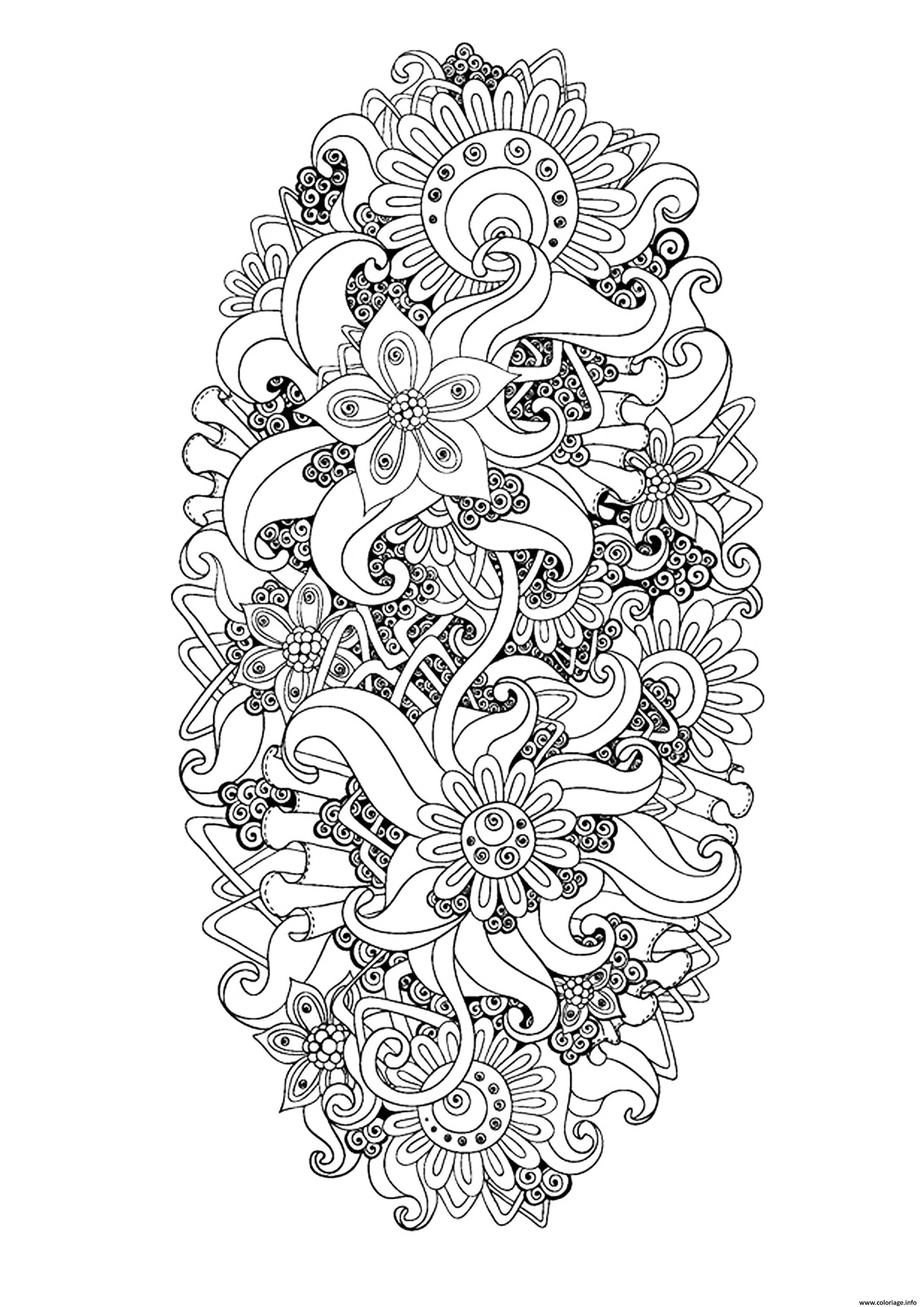 Coloriage zen antistress motif abstrait inspiration for Motif dessin