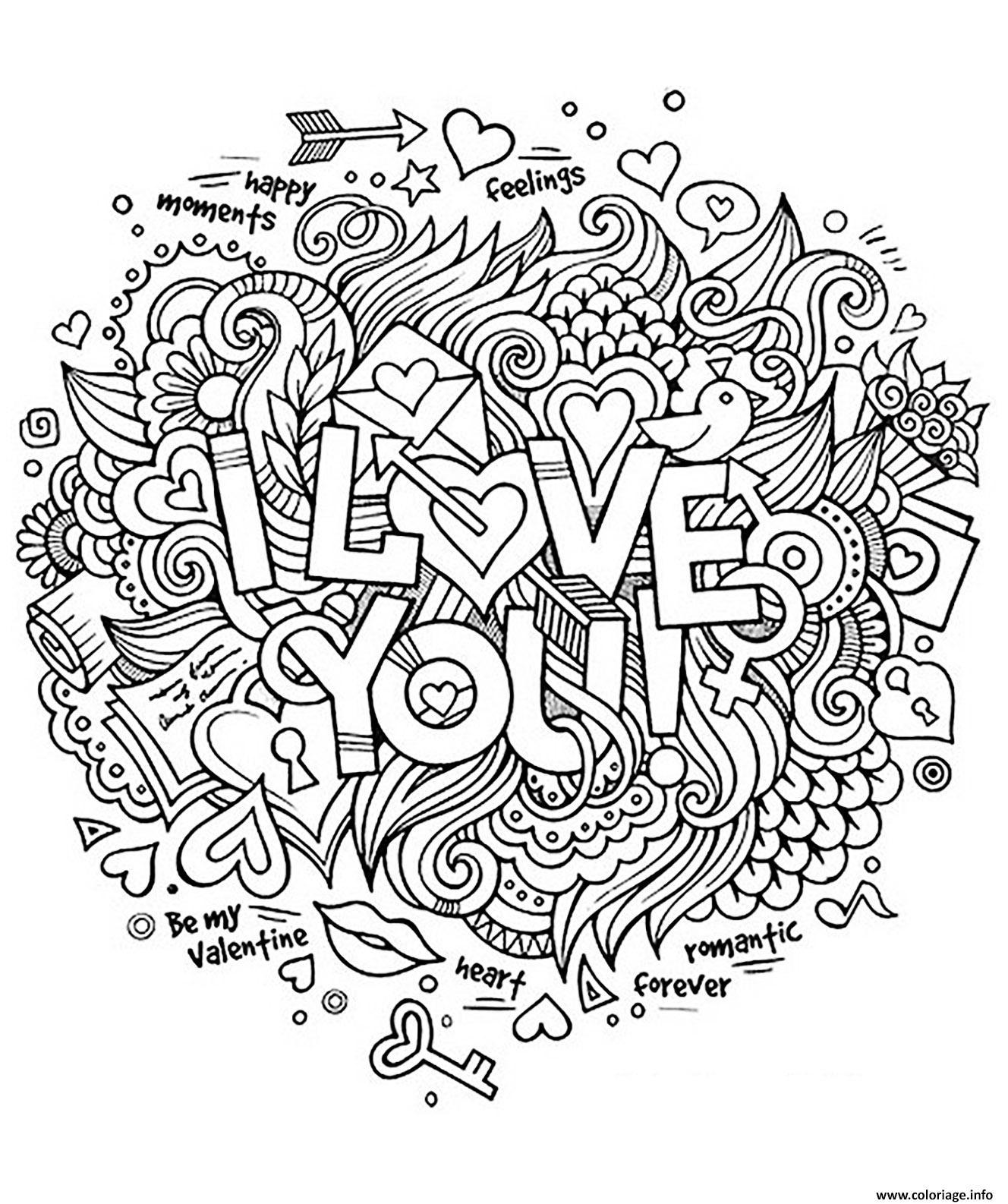 Dessin adulte coeur amour I love you romantique Coloriage Gratuit à Imprimer
