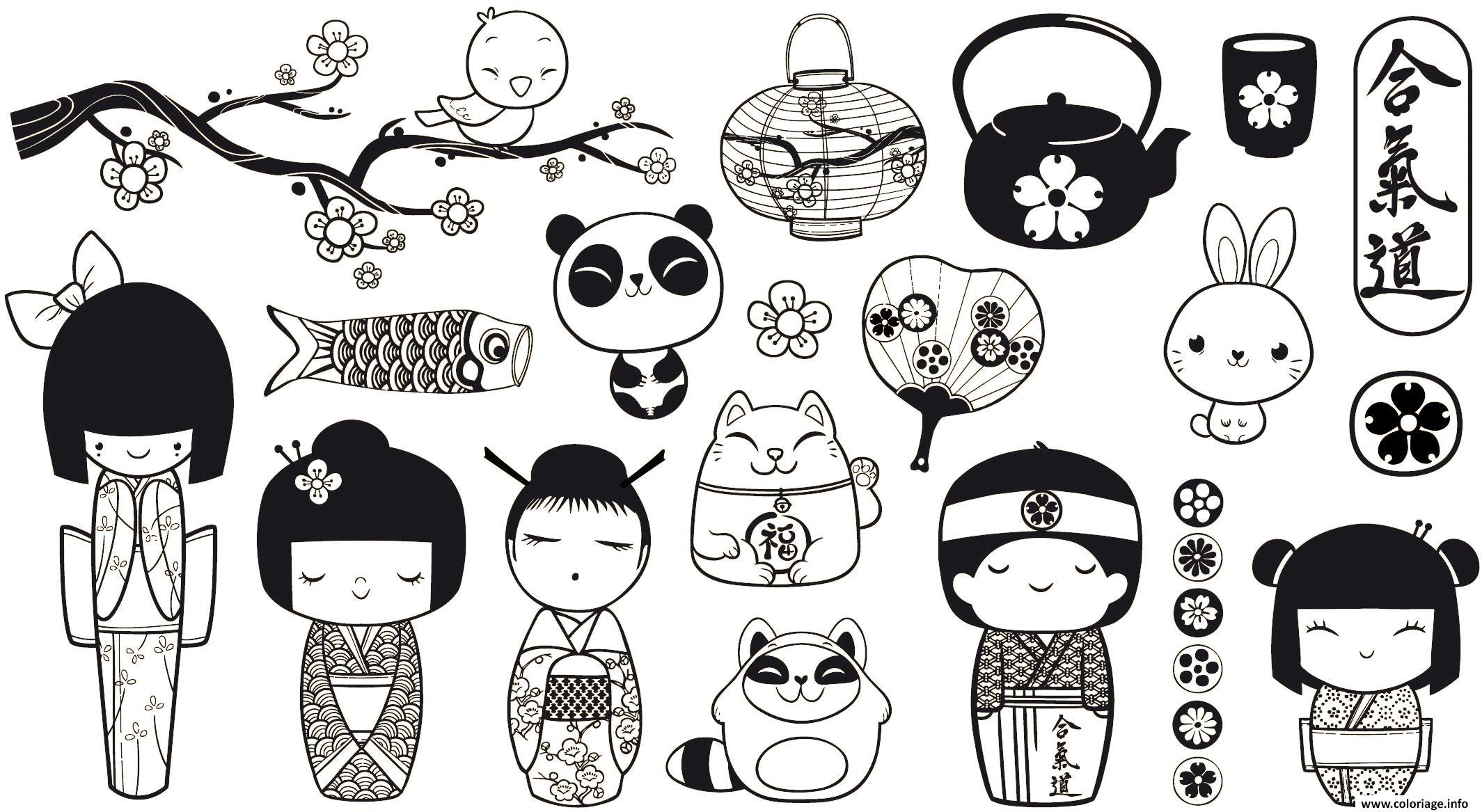 Dessin adulte panda monde asiatique asie et sa richesse Coloriage Gratuit à Imprimer