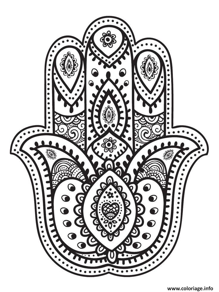 Coloriage mandala main oriental de fatma dessin - Dessins de mandala ...