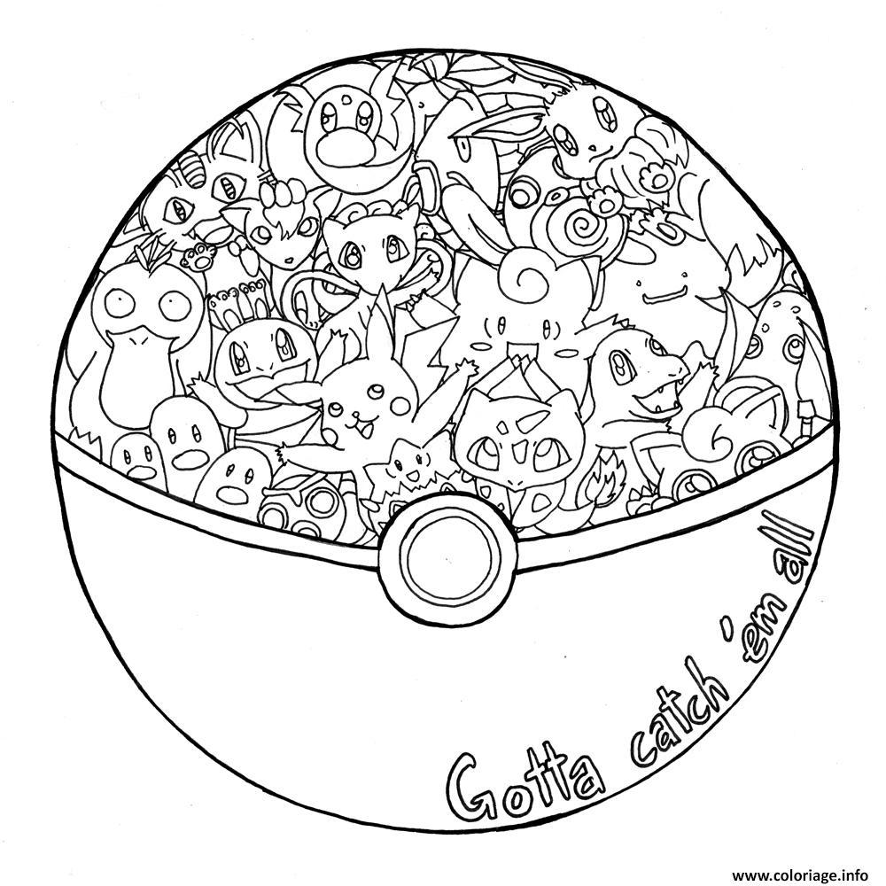 coloriage mandala pokemon attrapez les tous dessin imprimer - Dessin De Mandala
