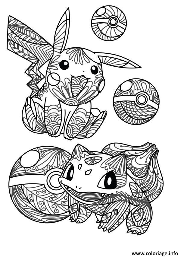 Coloriage Mandala Pokemon Pikachu Bulbizarre Bulbasaur Pokeball